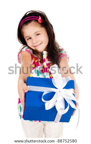 beautiful little girl with gifts on a white background - stock photo