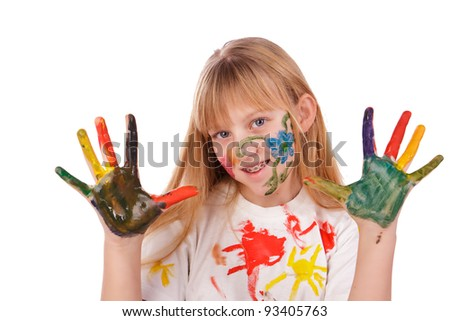Beautiful little girl with hands painted in colorful paints over white background - stock photo