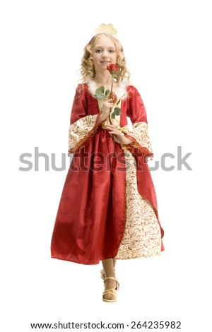 Beautiful little girl with long blonde hair in the princess costume holding a red rose at the white background. Red and gold empire dress - stock photo