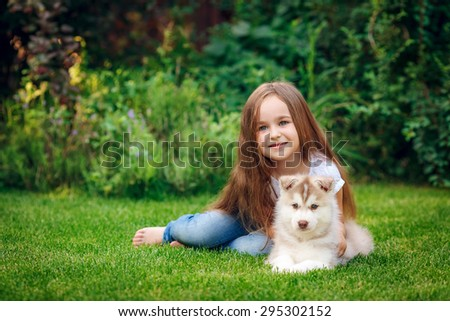 beautiful little girl with puppy husky in the meadow - stock photo