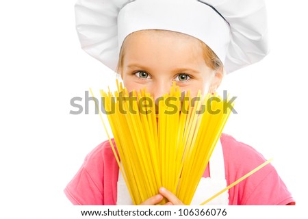 beautiful little girl with spaghetti on white - stock photo