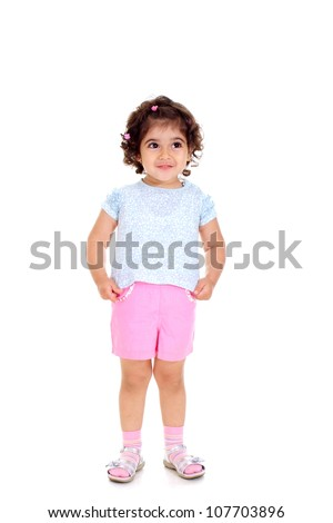Beautiful little girl with tails in a white t-shirt - stock photo