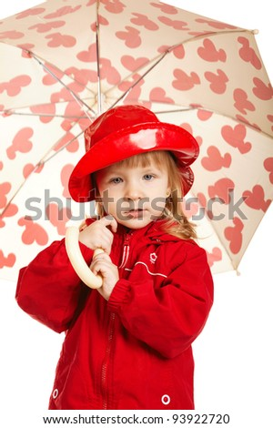beautiful little girl with umbrella - stock photo