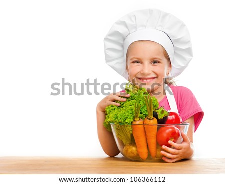 beautiful little girl with vegetables on a white background - stock photo