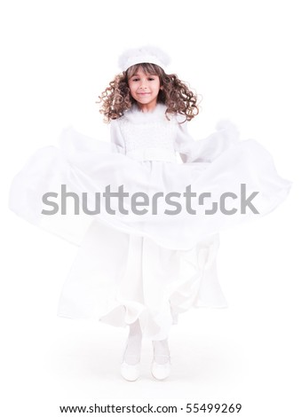 Beautiful little princess in white jumping - stock photo