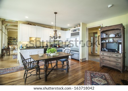 beautiful lived in kitchen - stock photo