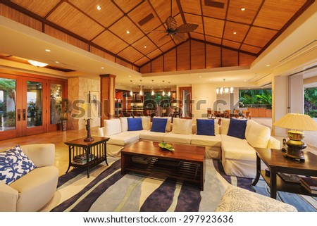Beautiful Living Room in Luxury Home - stock photo