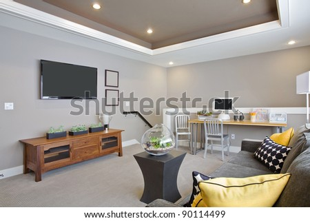 Beautiful Living Room in New Luxury Home - stock photo