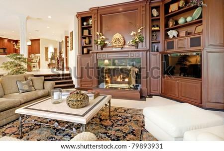 Beautiful Living Room Interior in Luxury Home - stock photo