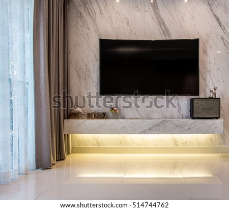 Beautiful Living Room Television Mock Up Tv Screen Marble With Vintage Hipster Loft Style Interior Background