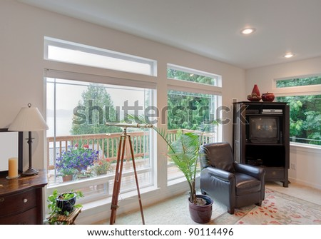 Beautiful Living Room with View - stock photo