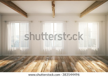 Beautiful loft interior design with windows, brown parquet and curtains. 3D Render - stock photo