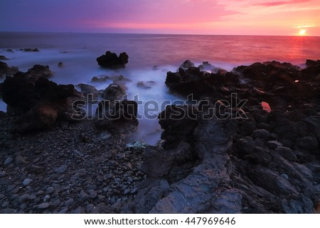 Beautiful long-exposure images at sunset of the coastline along the Kailua-Kona area of the big island of Hawaii