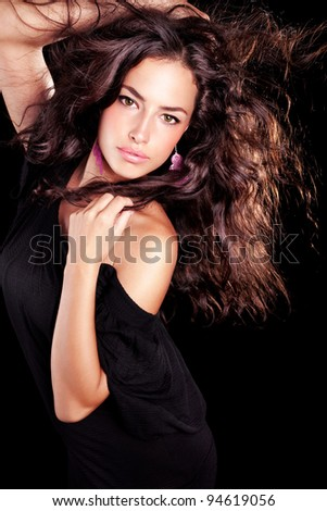 beautiful long hair brunette young woman portrait - stock photo