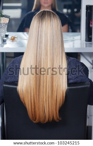 Beautiful long hair. Woman in salon