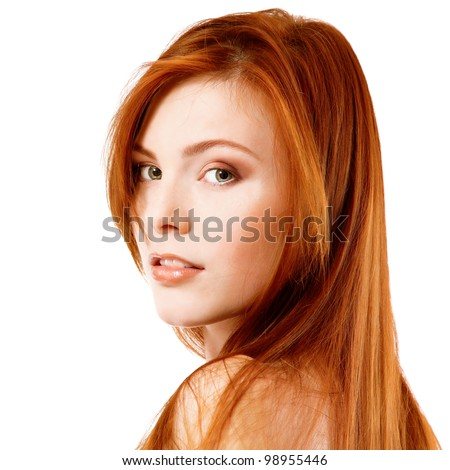 Beautiful long red health hair of young attractive woman. Isolated on white background - stock photo
