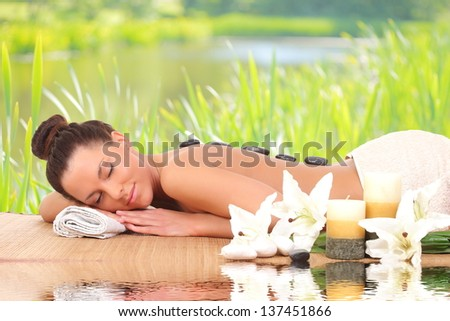 beautiful lovely girl in spa salon - stock photo