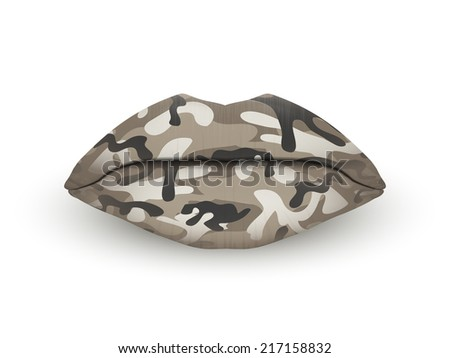 Beautiful luscious lips. Camo texture. Isolated on white.