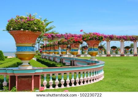 Beautiful lush garden in the tropic - stock photo