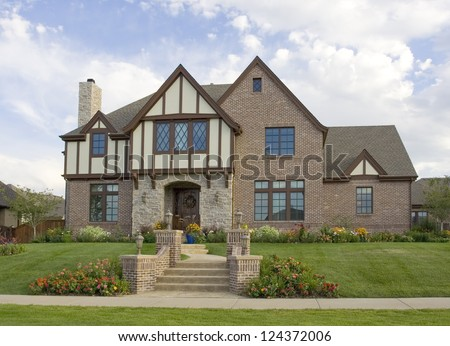 Beautiful luxury home in an upscale suburb of Denver, Colorado. - stock photo