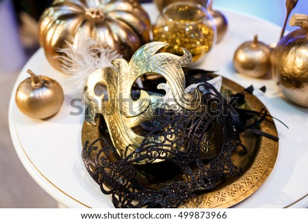 Beautiful luxury masks on the table