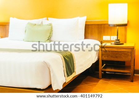 Designer bedroom contemporary furniture decor stock photo for Beautiful bed decoration