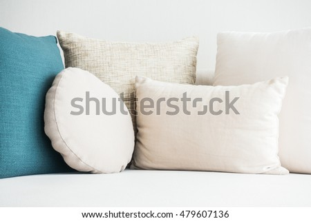 Beautiful luxury pillow on sofa decoration in living room interior