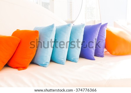Beautiful luxury pillow on sofa decoration in livingroom interior for background - Vintage Filter