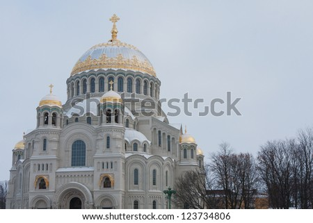 Beautiful, majestic Cathedral in Kronstadt (St. Petersburg, Russia) - stock photo