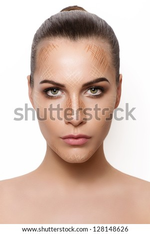 Beautiful Make-up female contouring tutorial - stock photo