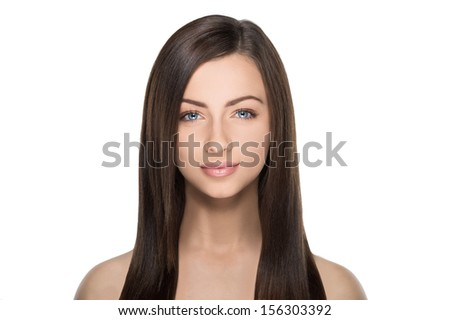 Beautiful make-up. Portrait of beautiful women with make-up looking at camera while isolated on white - stock photo