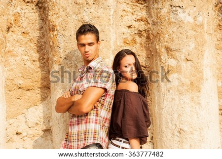 Beautiful man and woman on the nature. portrait - stock photo