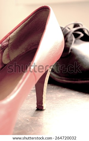 Beautiful man and woman  shoes. Classic design - stock photo
