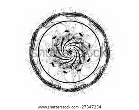 Beautiful mandala flower fractal, computer generated illustration in black and white tones - stock photo