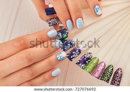 Beautiful Manicure Nail Art Samples Female Stock Photo Royalty Free