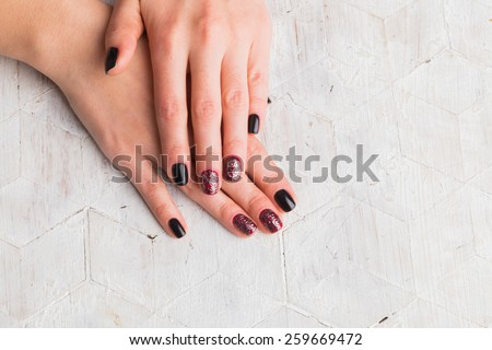 Beautiful manicure nails. Beautiful female hands with nails painted nails. Art manicure. Art manicure. Creative manicure. Taking Close-up nails. Art nails. Nails art. Art manicured fingers. - stock photo
