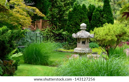 Beautiful manicured Japanese garden with mature Japanese Maple trees and junipers.
