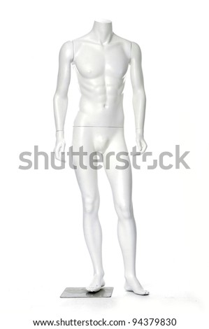 beautiful mannequin standing alone on the white background - stock photo