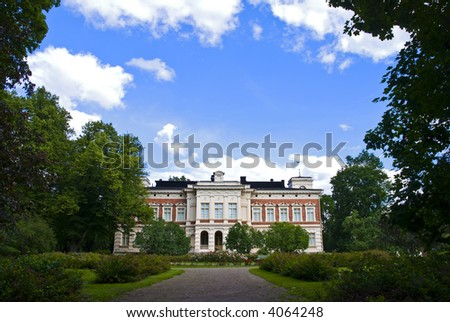 beautiful mansion with a garden in Tampere, Finland - stock photo