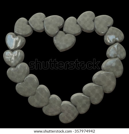 Beautiful marble heart frame made with small hearts with circular pattern on a black background. Render.