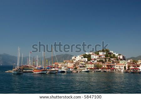 Beautiful Marmaris Marina Bay - stock photo