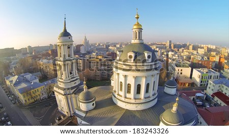 Beautiful Martin Confessor Church at winter sunny day in Moscow, Russia. Aerial view - stock photo