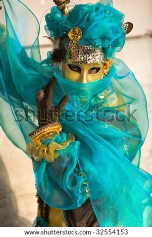 Beautiful mask in Venice Carnival 2009, Italy. - stock photo