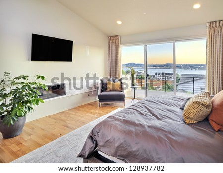 Beautiful Master Bedroom with View - stock photo
