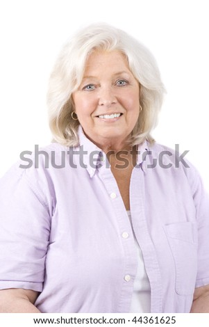 Beautiful mature woman on a white background