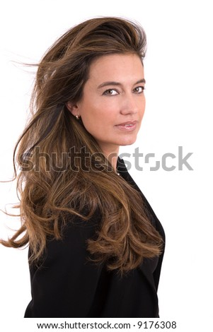 Beautiful mature woman with long brown hair - stock photo
