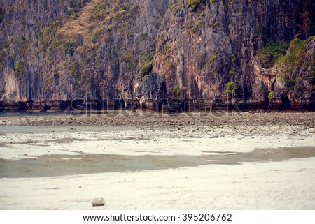 Beautiful Maya bay beach, Phi-Phi, Thailand. Image with selective focus and toning - stock photo