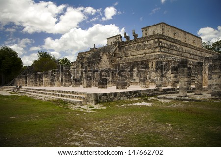 beautiful Mayan temple in Mexico, wonderful holiday destination - stock photo
