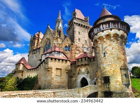 beautiful medieval castle Kreuzenstein, Austria - stock photo