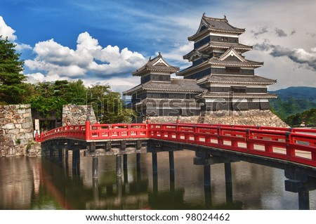 Beautiful medieval castle Matsumoto in the eastern Honshu, Japan - stock photo